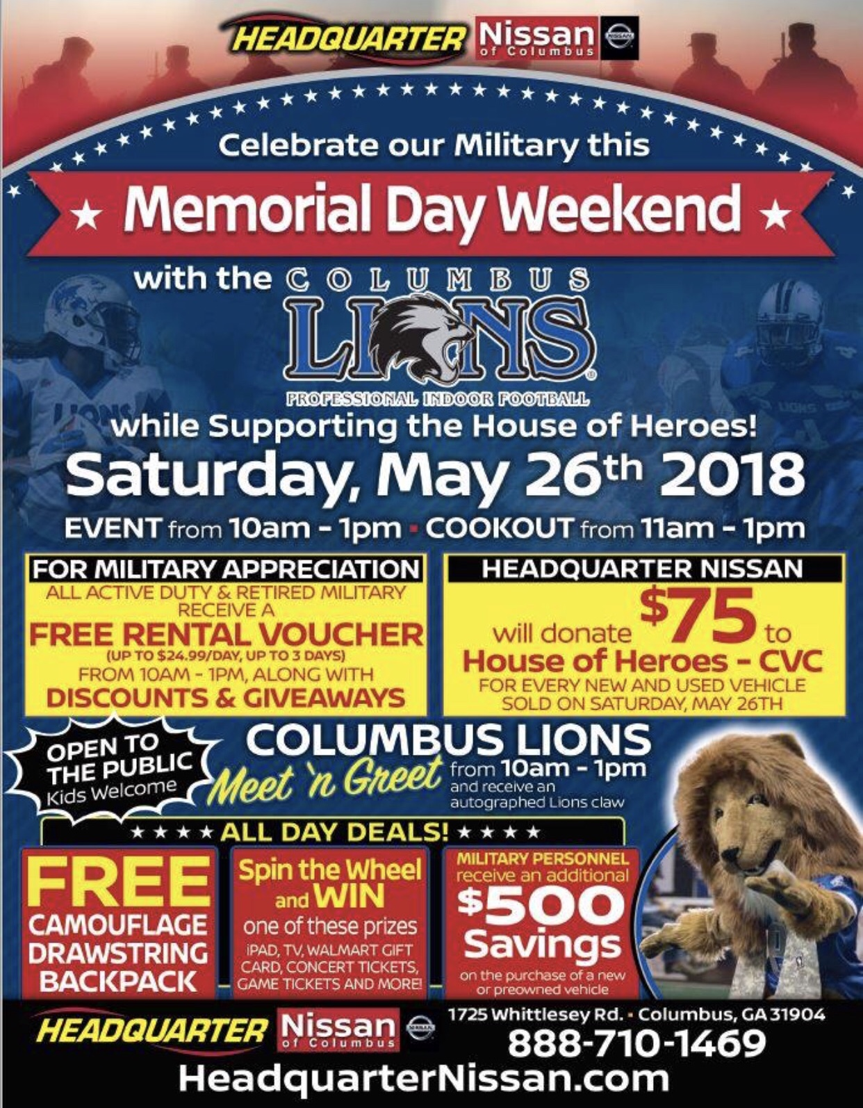 Celebrate Memorial Day Weekend with the Columbus Lions and help support House of Heroes